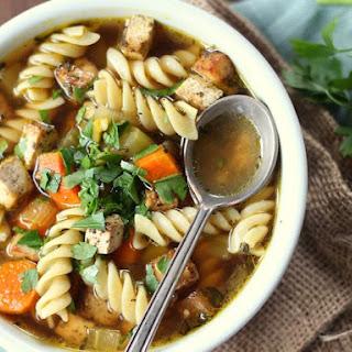 Vegan Chickenless Savory Tofu Noodle Soup.