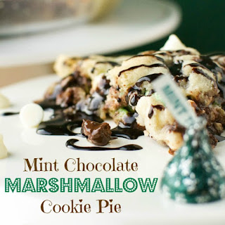 Mint Chocolate Marshmallow Cookie Pie