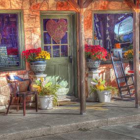 The Shop by Japie Scholtz - City,  Street & Park  Markets & Shops ( shop, chair, door wall, store, window, glass, stone, rock, pot, flower, rocking chair )