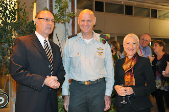 Photo: HMO Chair Joyce Rabin, left, with Major General Noam Tibon, head of IDF Northern Command, and , National President Marcie Natan