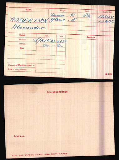 Alexander Robertson's Medal Index Card