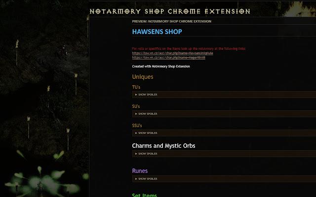 NotArmory Shop Extension