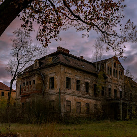 Enchanted lock by Martin Namesny - Buildings & Architecture Decaying & Abandoned ( old, sky, residence, sad, mysterious, destruction, lock, castle, evening, aristocratic, abandoned )