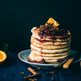Buttermilk Pancakes with Caramelized White Chocolate and Gluhwein Jam