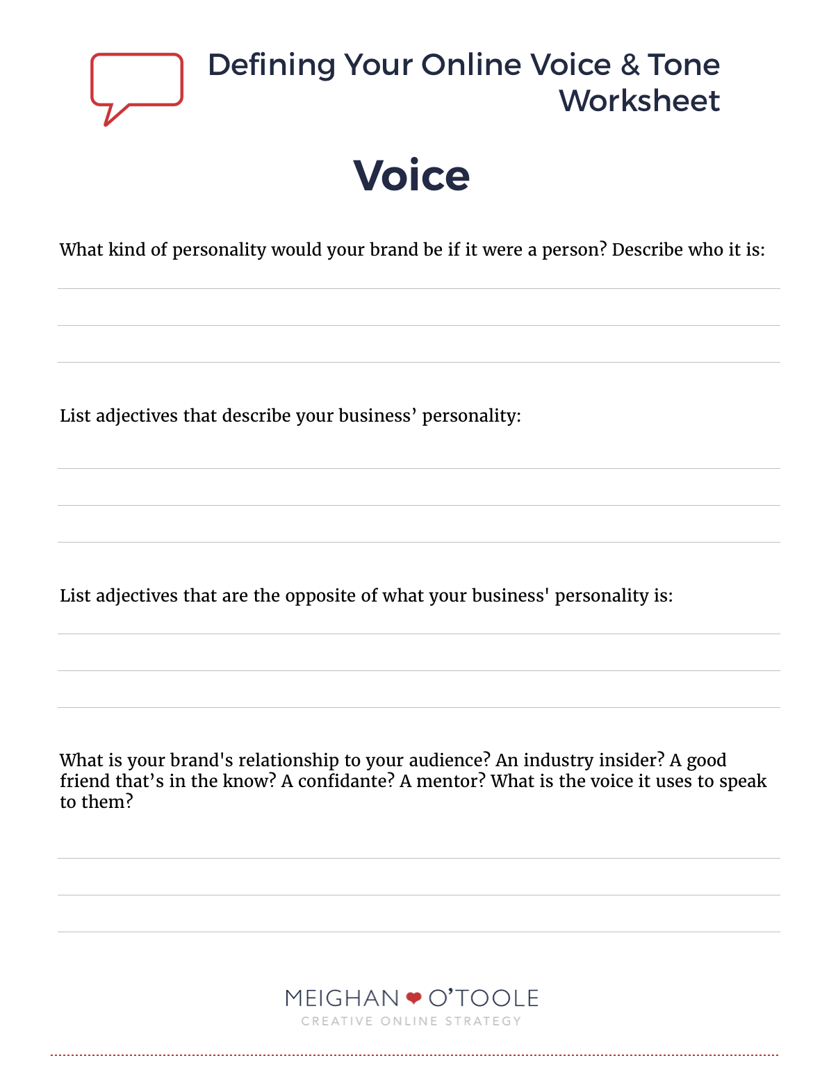 Defining Your Voice Tone Online Free Worksheet – Tone Worksheets