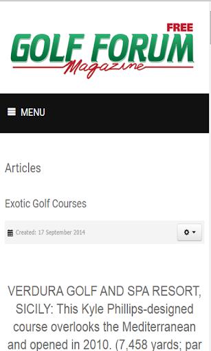 Free Golf Forum Magazine