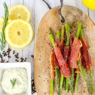 Prosciutto Wrapped Asparagus with Lemon Herb Aioli