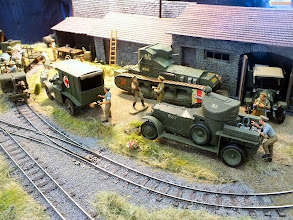 """Photo: 007 Ian Roberts is well known in the south for his splendid scratch built large scale minimum gauge models and for this occasion he brought along a new layout, titled """"The Last Push, August 1918"""", showing a 1:35 scale maintenance and casualty clearing location served by a 16.5mm gauge War Dept light railway ."""