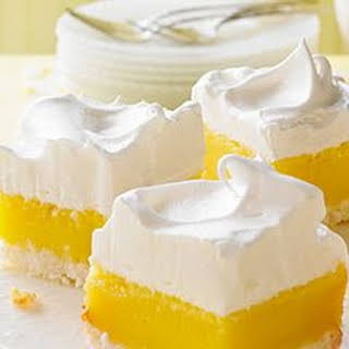 Coconut Lemon Bars with Marshmallow Frosting.