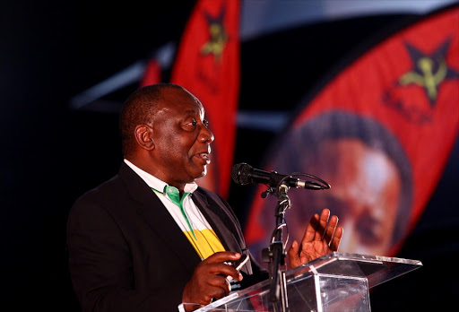 Caption:  ANC Deputy President Cyril Ramaphosa  delivering a message from the ANC  during the 14th Congress of the SACP held at Birchwood Hotel. /a Masi Losi