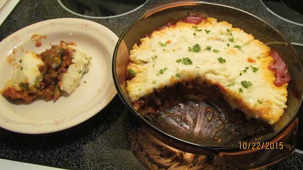 This Is Our Hamburger Pie With Two Helpings Missing. My Plate Is On The Left. Photo By Rose. 10/22/15