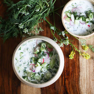 Cold Bulgarian soup with kefir, cucumbers, dill, walnuts and feta