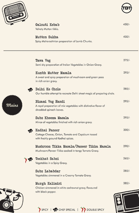 The Bar Tales menu 2