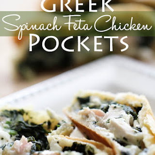 Greek Spinach Feta Chicken Pockets.