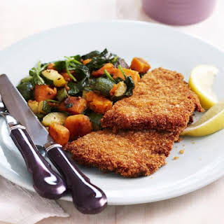 Breaded Veal with Spiced Vegetables.