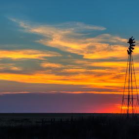 Broken by Jim Talbert - Landscapes Sunsets & Sunrises ( sky, hdr, nature, sunset, landscape, landscapes, kansas, windmill )