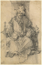 Photo: Albrecht Dürer (German, 1471 - 1528 ), An Oriental Ruler Seated on His Throne, c. 1495, pen and black ink on laid paper, Ailsa Mellon Bruce Fund