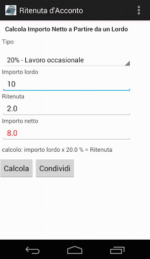 Calcolo Ritenuta D'Acconto