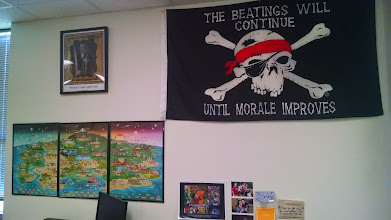 "Photo: ""The Beatings"" - sadly in WHAP, they are sometimes happening. Well, until Morale does improve. Also a nice look at the Crash Course Posters & my main man Phineas Gage from Psych."