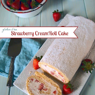 Gluten Free Strawberry Cream Roll Cake.