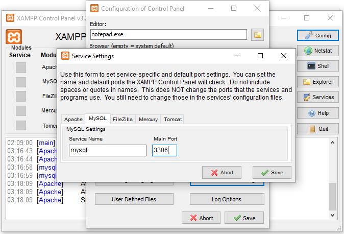 mengubah port xampp 2