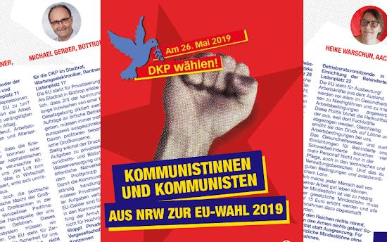 Grafik: Wahlbroschüre. «Kommunistinnen und Kommunisten aus NRW zur EU-Wahl 2019».