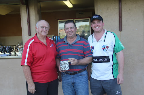 Tony Longworth, Tony Meppem and Luke Meppem after the NDCA grand finals at the 2016-17 awards presentation, where Tony Meppem was awarded Narrabri cricket life membership.