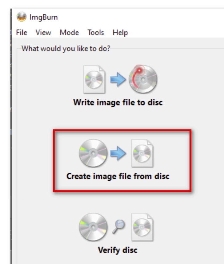 Choose Create image file from disc options in Imageburn