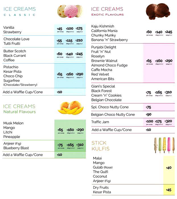Giani's Ice-cream menu 1