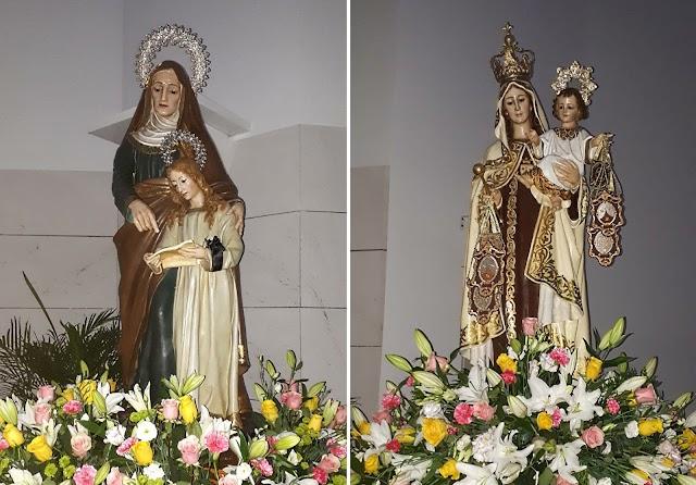 Santa Ana y la Virgen del Carmen en la iglesia del Puerto en los cultos de ayer tarde.