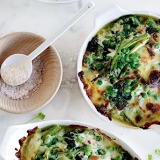 Healthy Broccolini, Pea And Asparagus Breakfast Gratin.