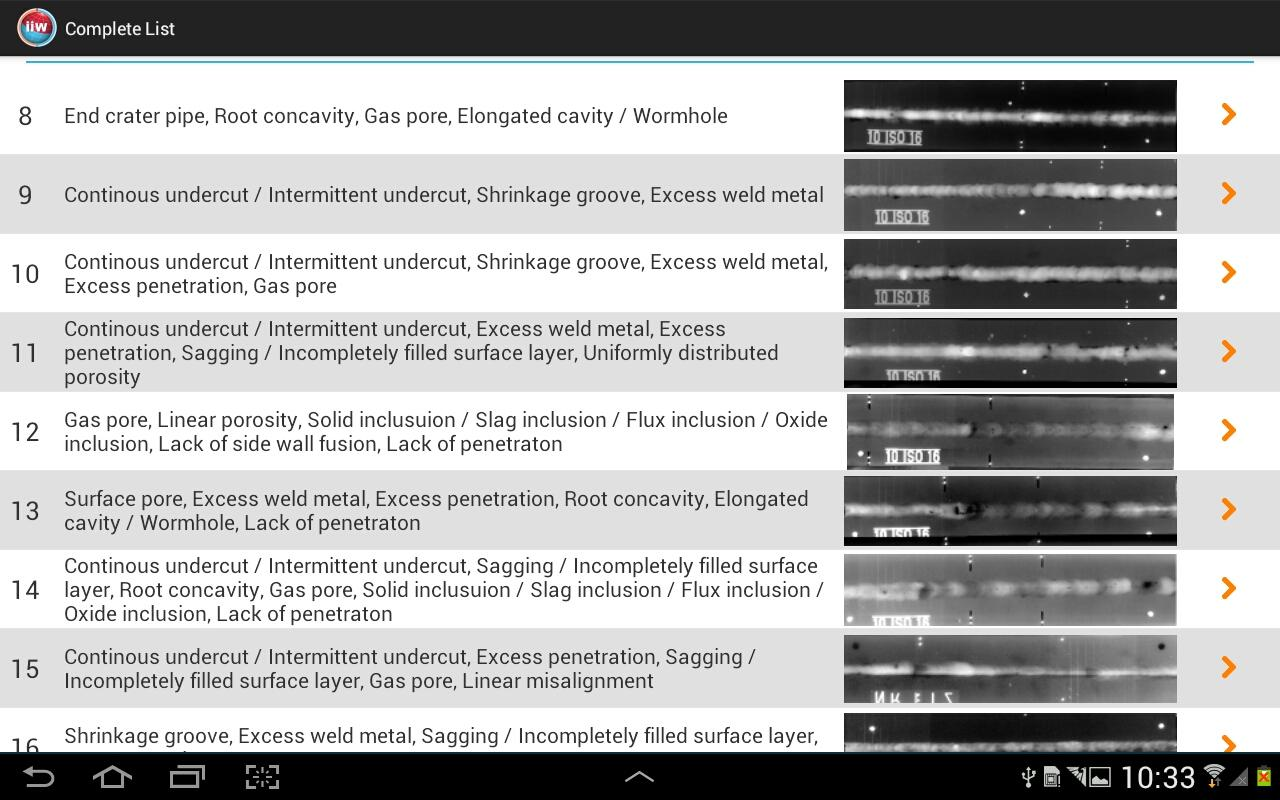IIW-APP ISO 5817 Radiographs- screenshot