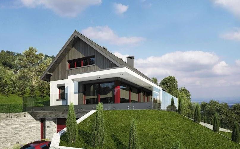 Na spadzistej działce dobrze wygląda prosty, standardowy budynek z dwuspadowym dachem