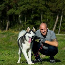 Best friends by Paula NoGuerra - Animals - Dogs Portraits ( friendship, husky, animal, portrait, dog, friends )