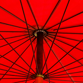 Red Umberlla by Ray Shiu - Abstract Patterns ( abstract, rod, red, shelter, umbrella, stalk, spindle, shield, rain,  )