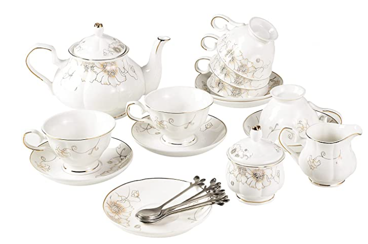 tea set with flower details - how to host a tea party