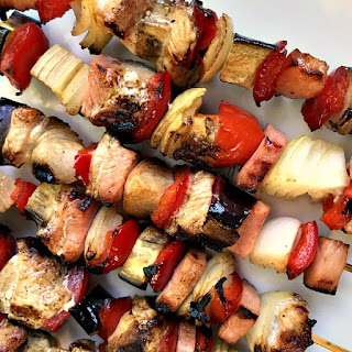 BBQ chicken, smoked ham and veggie skewers