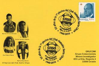 Photo: Matasellos del 50 aniversario de la primera piscina del Club Santa Olaya en la Calzada en Gijon