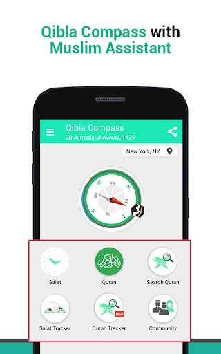 Qibla Compass & Prayer Times,Best Muslim Assistant screenshot 1