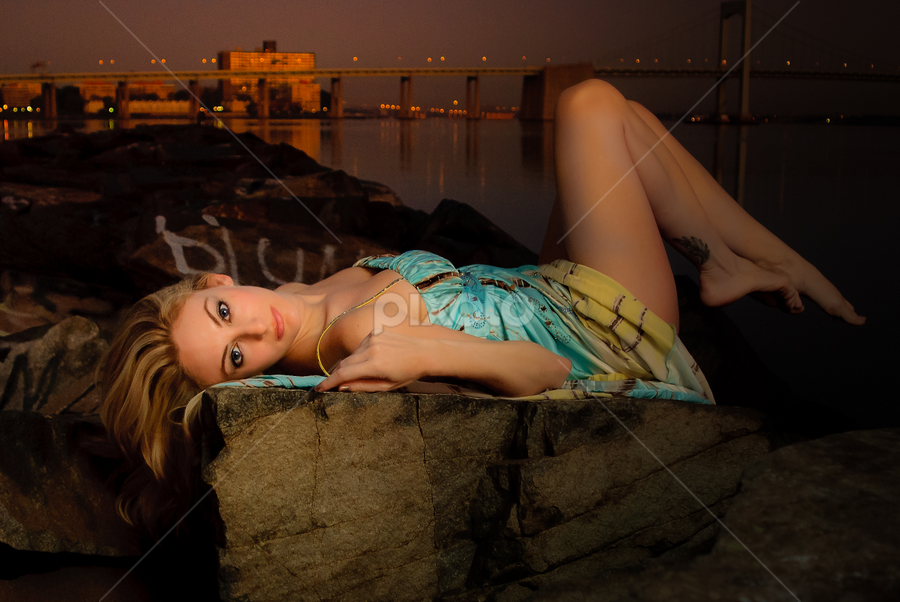 Mermaid below the bridge by Gregg Eisenberg - People Portraits of Women ( flash, model, strobist, woman, night, jetty, bridge, nyc, rocks, portrait, pwcflashes, strobe )