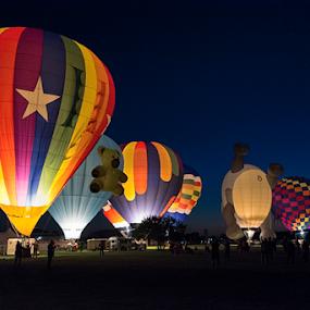 Balloon Glow by Robert Fawcett - Transportation Other ( hot air balloon, balloon festival, balloon glow, maryland, travel, places, easton )