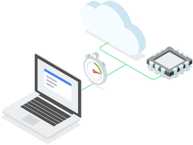 Conceptual image of laptop networked to cloud and virtual machine
