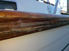 Photo: freshly applied epoxy seals the splines along the port side