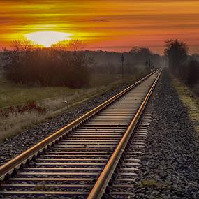 My way by Jürgen Sprengart - Transportation Railway Tracks ( havixbeck, sunrises, sunlight )