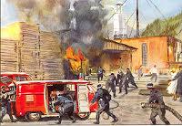 Transporter brandbil vid industrilokal