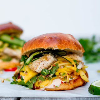 Thai Fish Burgers with Green Mango & Papaya Slaw