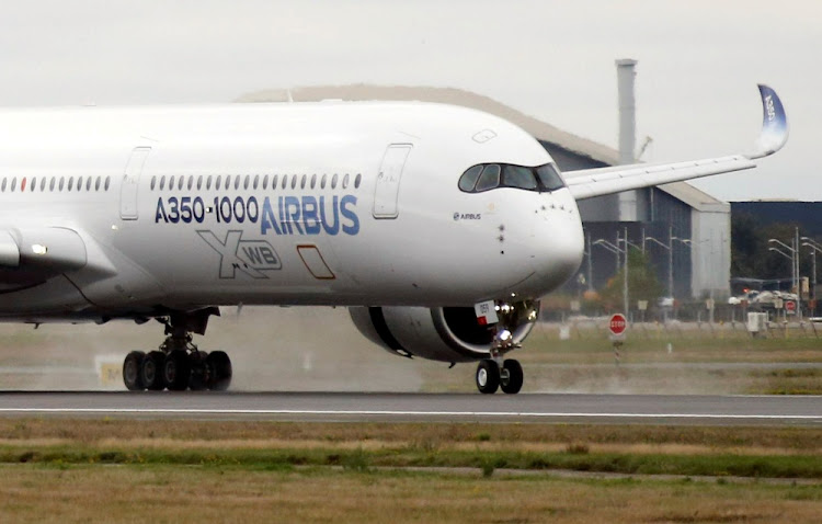 An Airbus A350-1000 lands during in Colomiers near Toulouse, southwestern France. Picture: REUTERS/REGIS DUVIGNAU
