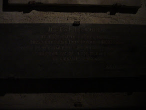 "Photo: An inscription in one of the burial areas on the lower level: ""Here is the body of the very high, very powerful, and very virtuous Marie Le Zinsk, spouse of the very high and very powerful king, deceased the 24th of June 1766 at the age of 75."""