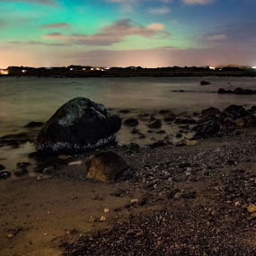 Beachy Aurora by Steven Snoots - Landscapes Waterscapes ( aurora beach sand rocks clouds herdla )