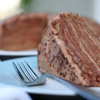 Crepes Cake with Chocolate Meringue Frosting